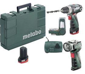 Metabo PowerMaxx BS 10,8V Basic Set wkrętarka 2X2,0Ah + latarka ULA + bity 600080530