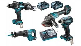 Makita DK0126G401 4-narzędziowy zestaw Combo GA005G+DF001G+TD001G+JR001G 40Vmax XGT 2x4,0Ah w torbie