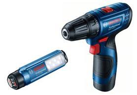 Bosch GSR 120-Li wiertarko-wkrętarka 12V 2x2,0Ah 30/14Nm + latarka GLI 12V-300 w walizce 06019G8004