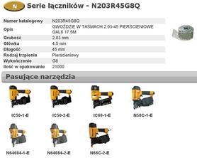 BOSTITCH N203R45G8Q GWOŹDZIE W TASMACH N55  2,03-45 mm RING GALWANIZOWANE G8 21.000 szt.