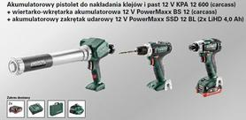 METABO ZESTAW COMBO 12V (BS 12 +SSD 12 BL +KPA 12 600) 2x4,0Ah LiHD 601036890
