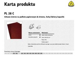 KLINGSPOR ARKUSZE ŚCIERNE NA PODŁOŻU PAPIEROWYM 230mm x 280mm PL28C gr. 40 /50szt.