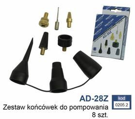 ADLER ZESTAW KOŃCÓWEK DO POMPOWANIA 8szt. AD-28Z